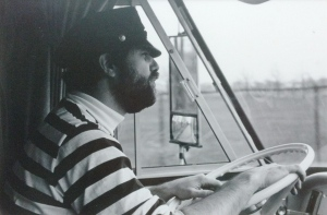 Chuck at the wheel of the motorhome