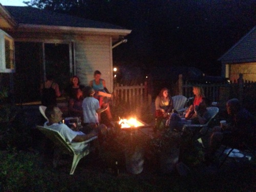 A family bonfire on a warmer day