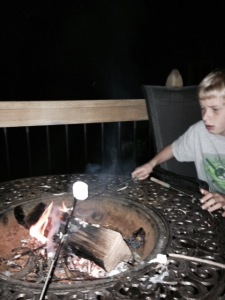 Tanya's Bonfire to Katie - with her son making s'mores