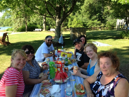 Katie's Birthday 2016 - Feasting on Steve's Deli (Alison, Karen, Conner, Neil, Amanda, Barbara, Tammy)